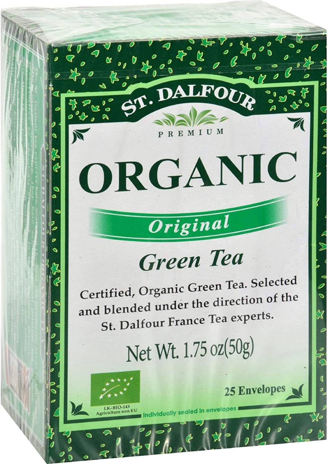 St Dalfour Organic Green Tea Original – 25 Tea Bags – Case of 6