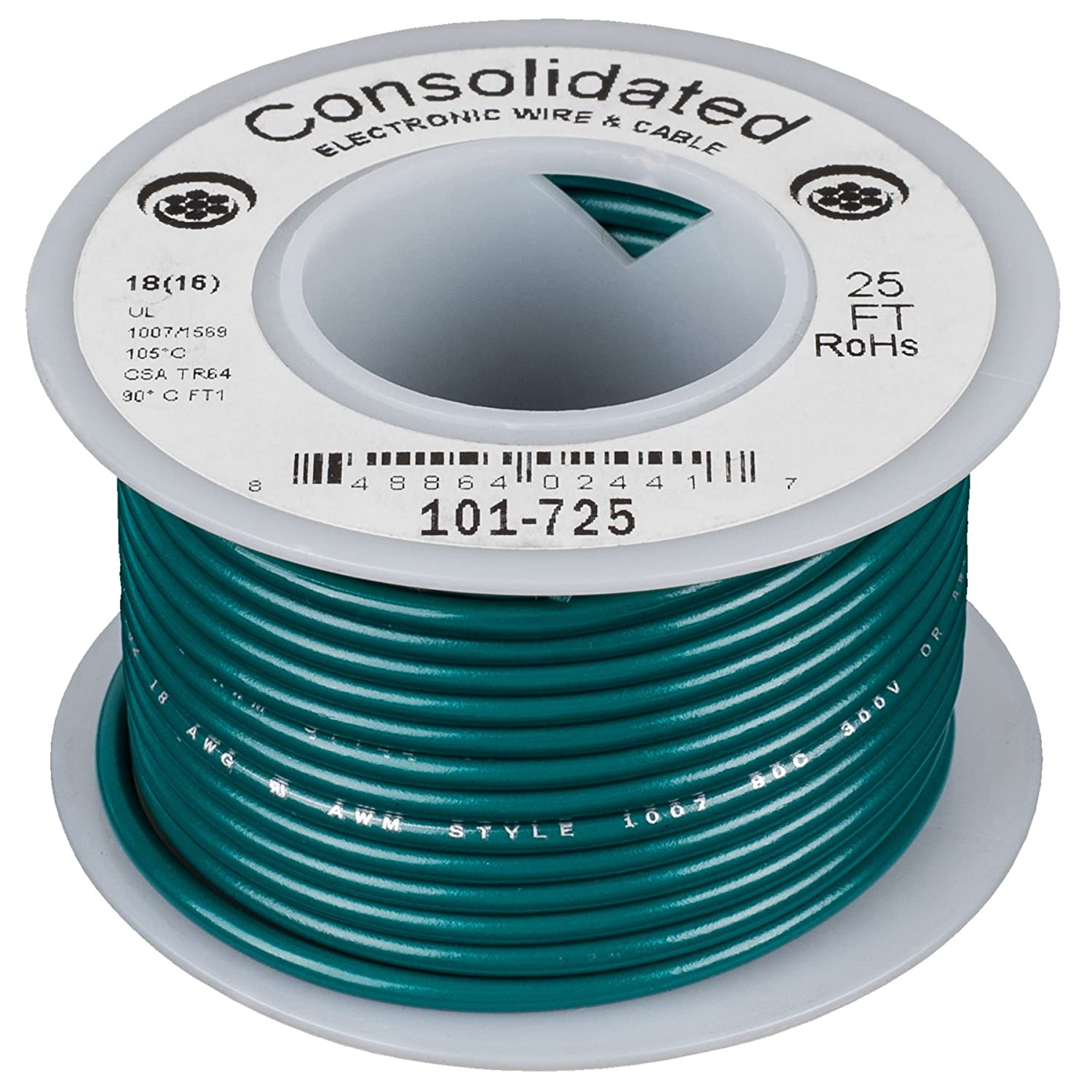 Amazon.com: Consolidated Stranded 18 AWG Hook-Up Wire 25 ft. Green ...