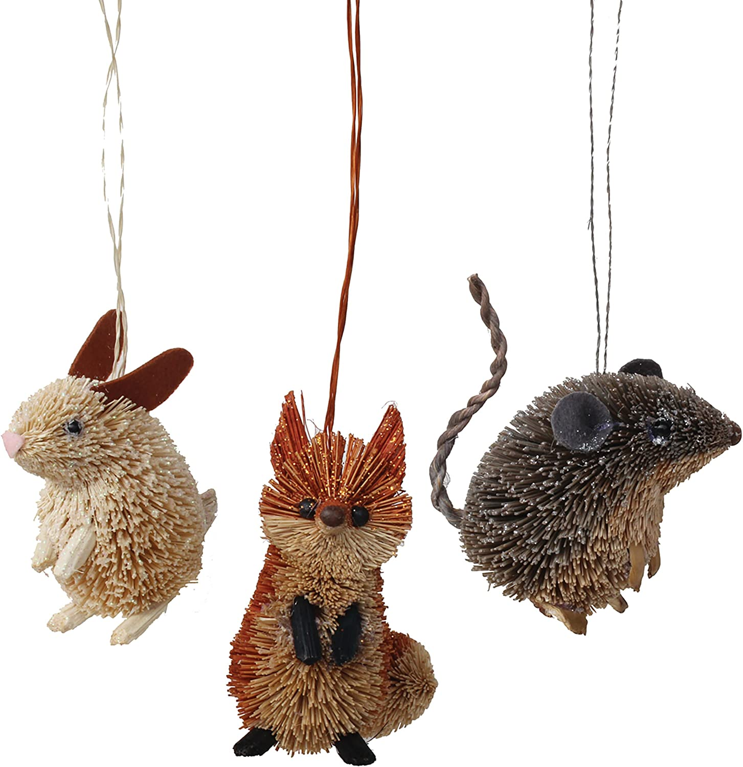 GALLERIE II Cute Mouse Fox & Rabbit Christmas Xmas Ornament A/3 Natural
