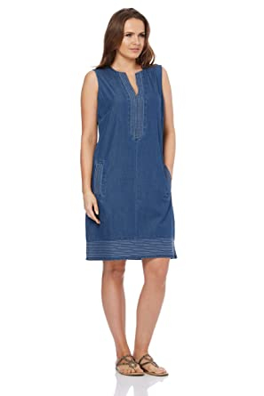 2364230faf3 Roman Originals Women V-Neck Shift Denim Look Dress - Ladies Summer  Sleeveless Knee Length