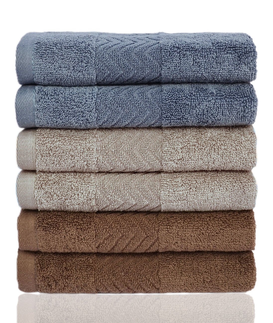 Cleanbear Cotton Washcloths (13 x 13 Inch), 6-Pack, 3 Colors - Blue Grey, Brown and Khaki