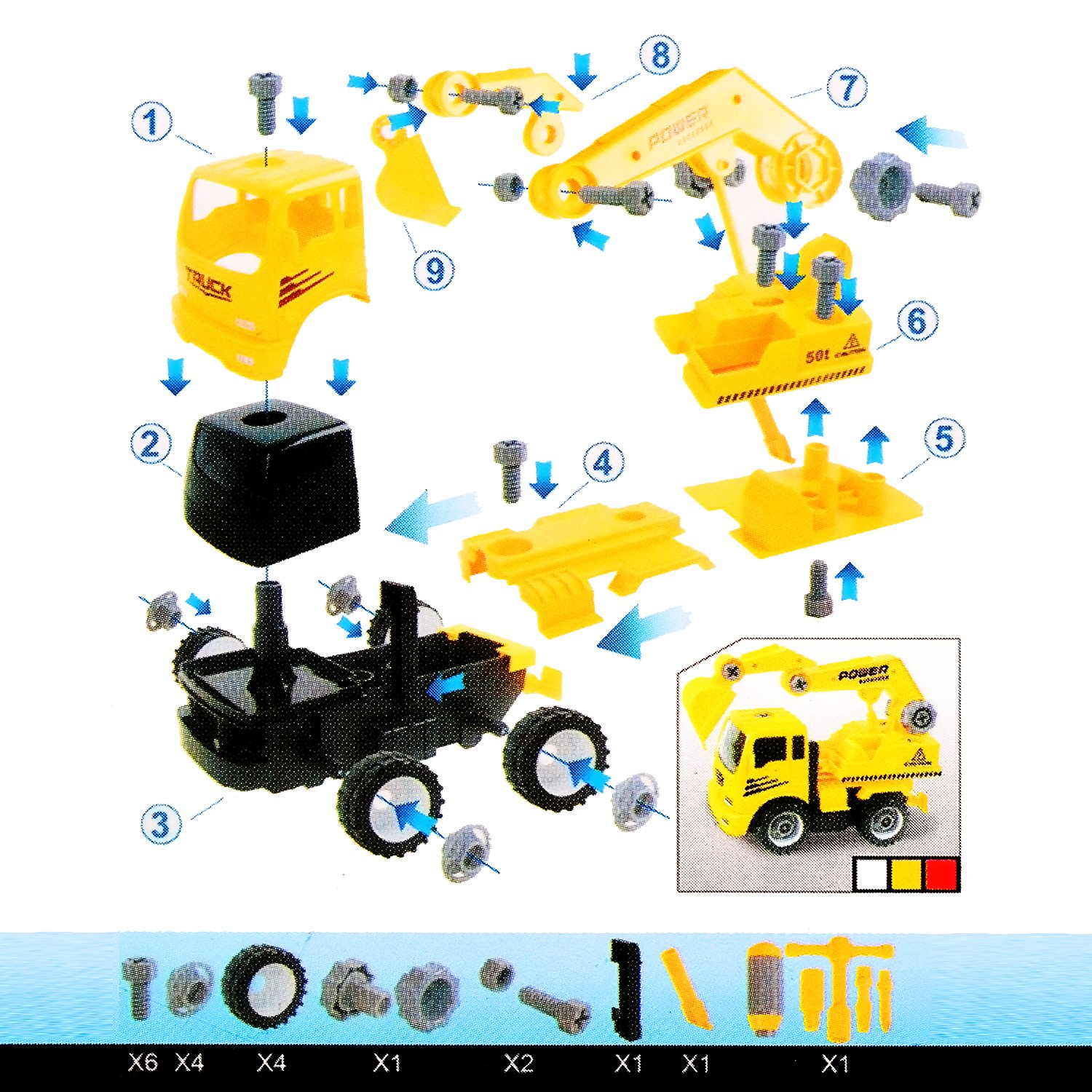 QuadPro Excavator Take Apart Toys Car Friction Powered Inertia Engineering Vehicles Take-A-Part Truck Tools Construction Toy for Kids Boys and Girls