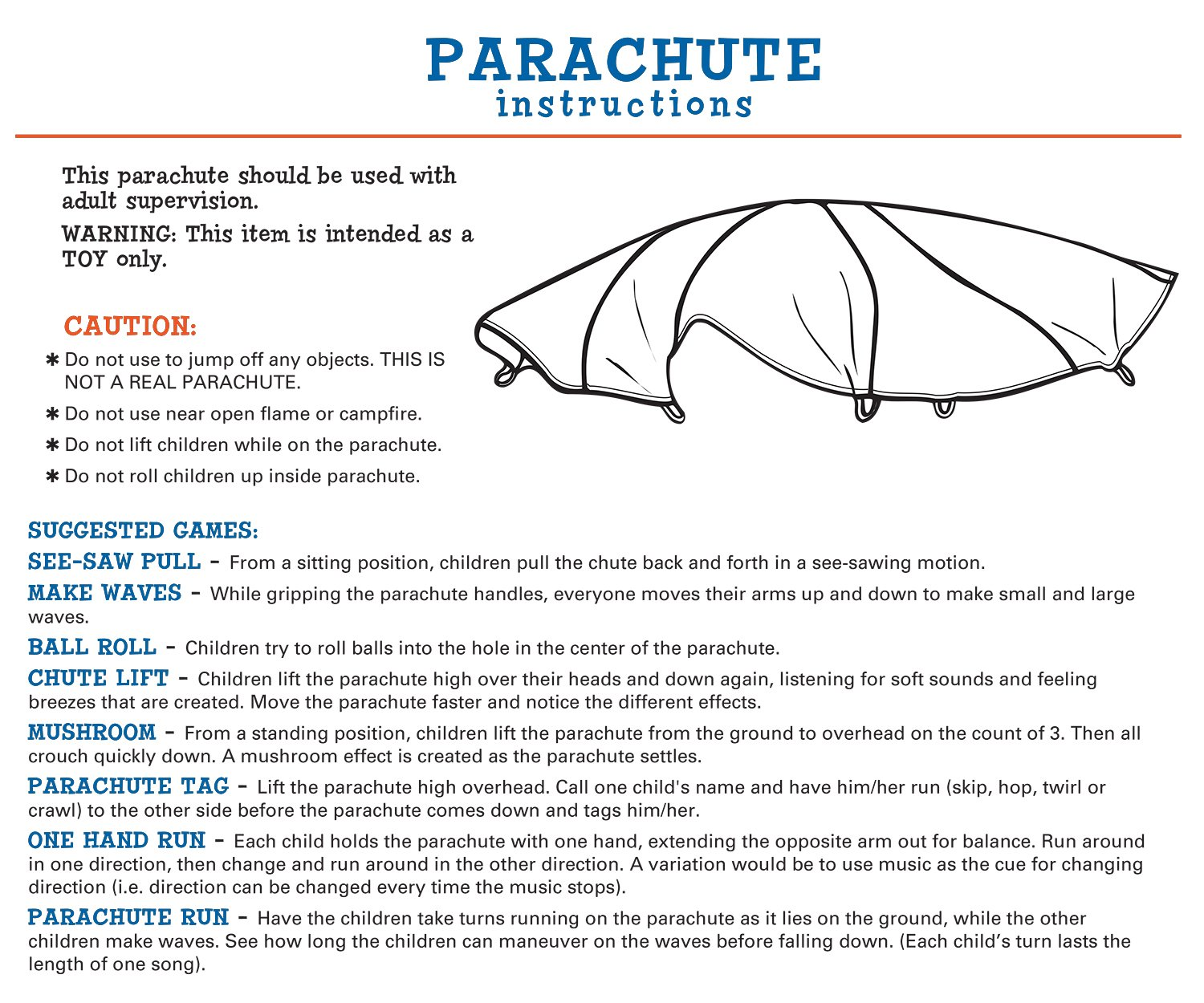 Pacific Play Tents 30' Parachute with No Handles and Carry Bag