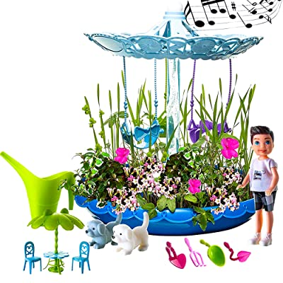 Fairy Garden Kit for Boys | Complete Garden Starter Kit with Seeds | Best DIY Gift for 3, 4, 5, 6 Years Old | Craft & Grow Your Own Garden Indoor | Gardening Kit with Lights & Music (Blue): Toys & Games
