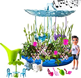 Fairy Garden Kit for Boys | Complete Garden Starter Kit with Seeds | Best DIY Gift for 3, 4, 5, 6 Years Old | Craft & Grow Your Own Garden Indoor | Gardening Kit with Lights & Music (Blue)