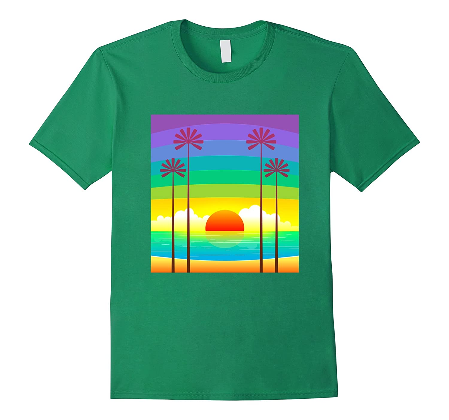 Colorful Sunset T-Shirt Seaside Ocean Beach Scene Palm Trees