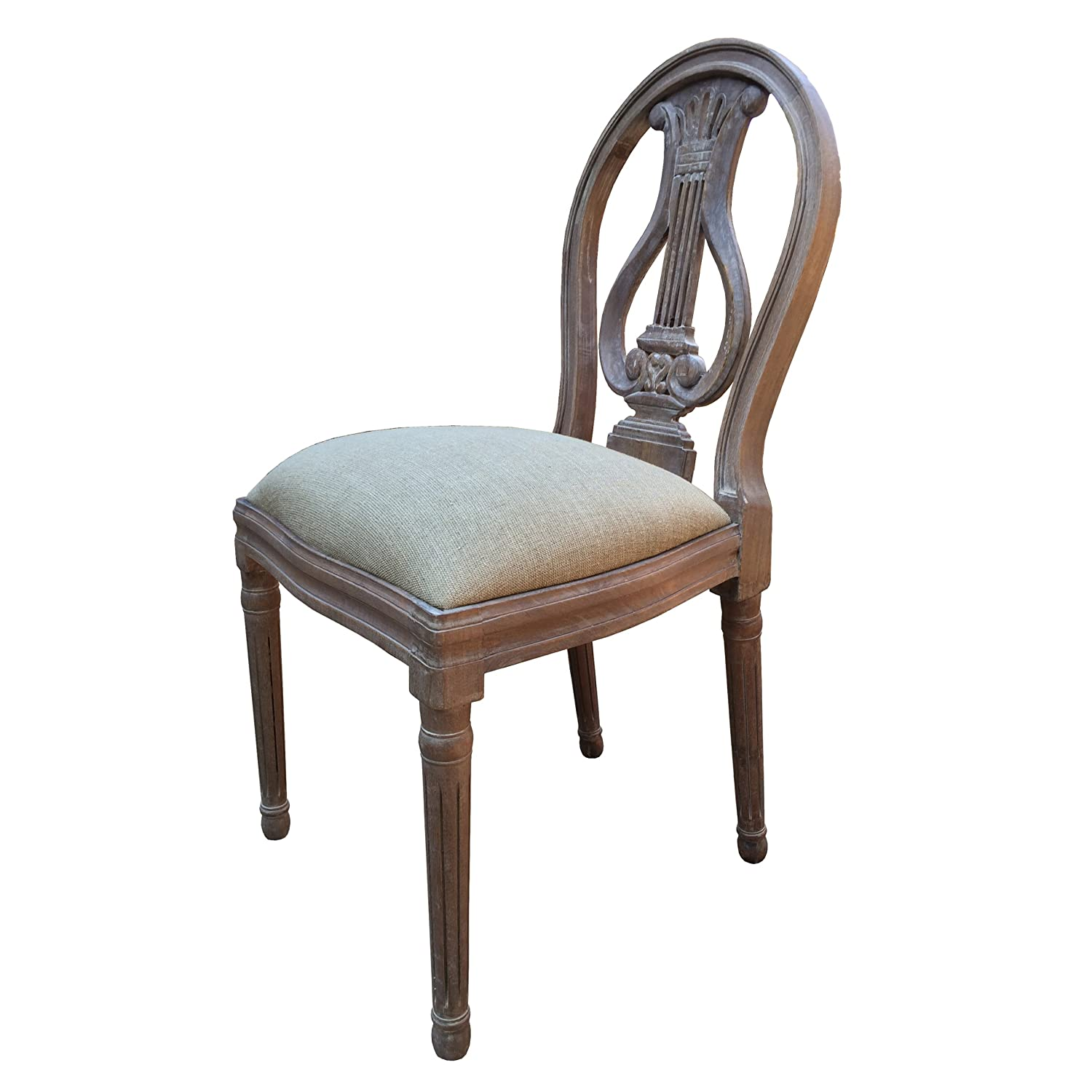 A French Style Shabby Chic Dining Chair in Ash Finish Upholstery