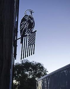 Steel Freedom Eagle Decoration | Metal Bird | Garden Art | Backyard Art | Tree Art | Silhouette Art | Corten Steel | Patina Rust | Garden Decoration