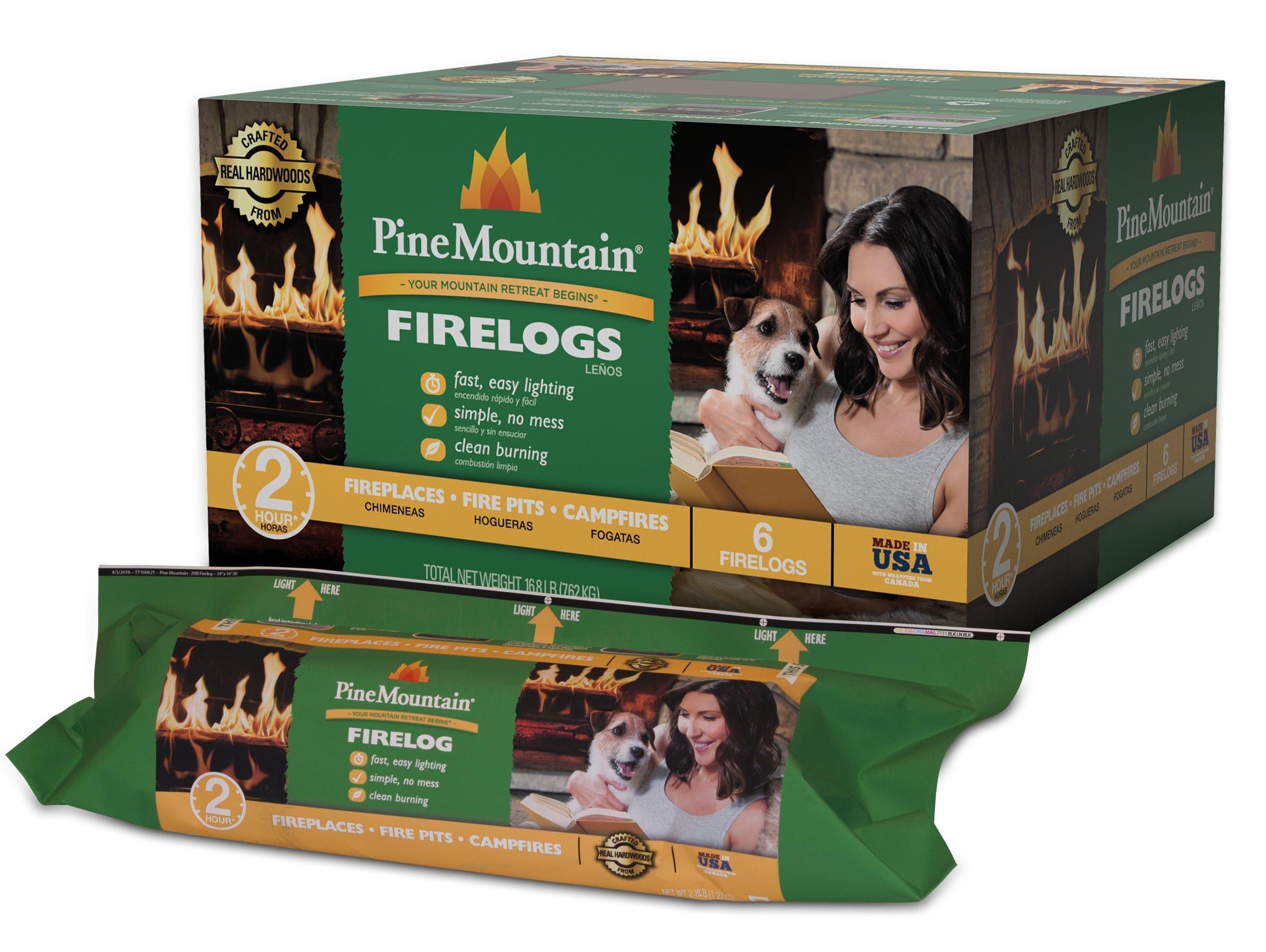 Pine Mountain 6PK 2HR Trad Fire Log, 6 Firelogs, 2-Hour Burn Time, 6 Piece by Pine Mountain