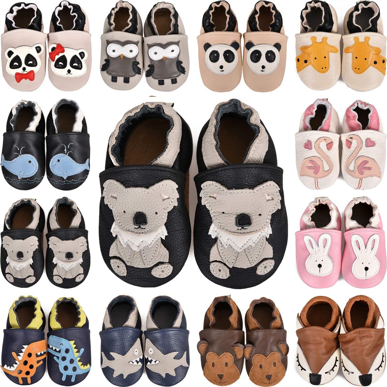 BAOLESEM Chaussures de course pour b/éb/é gar/çon fille en cuir souple Chaussures d/éveil Chaussures de b/éb/é Chaussons en daim antid/érapantes