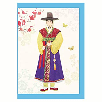 Amazon korean clothes classical scholar hanbok card hand made korean clothes classical scholar hanbok card hand made 3d greeting cards blank envelope included m4hsunfo Images