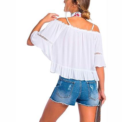 Tiffosi - Blusa Blanca Bambula con Tirantes L, Blanco: Amazon.es: Ropa y accesorios