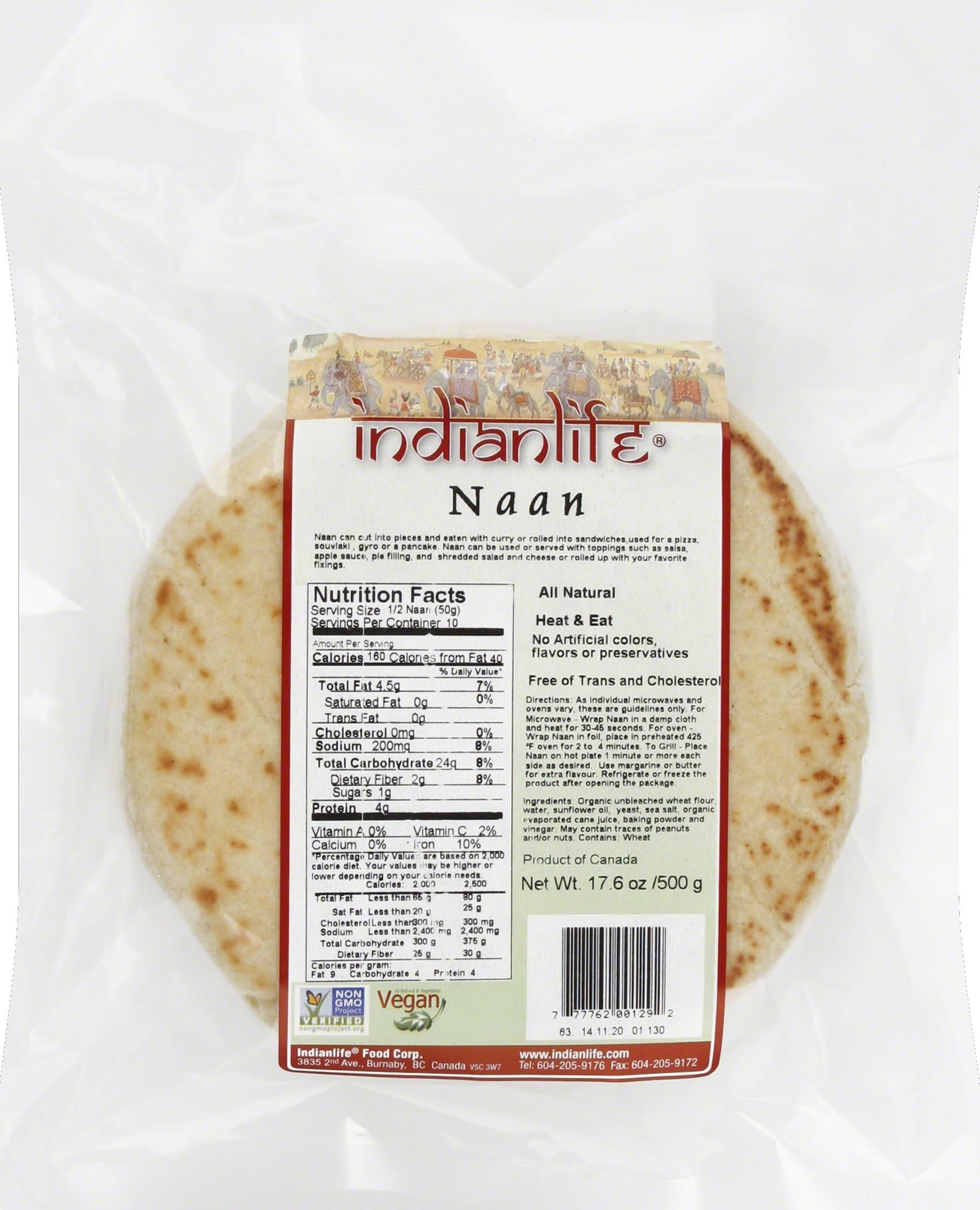 Indian Life Naan, Plain, 5-Count, 500 Gram Boxes (Pack of 12) by Indianlife