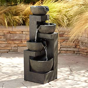 "John Timberland Four Bowl Outdoor Floor Water Fountain with Light LED 41 1/2"" High Cascading for Yard Garden Patio Deck Home"