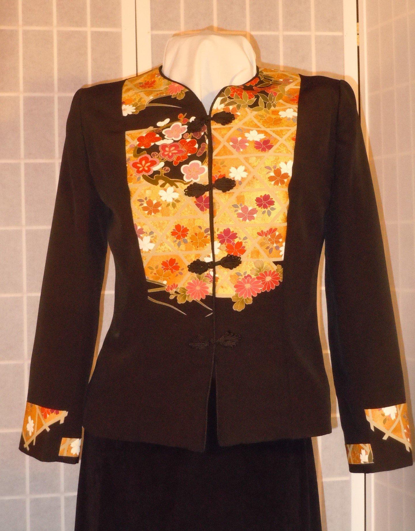 Silk jacket size small ''golden medallions'' black silk blazer from Japanese kimono silk special occasion #F61