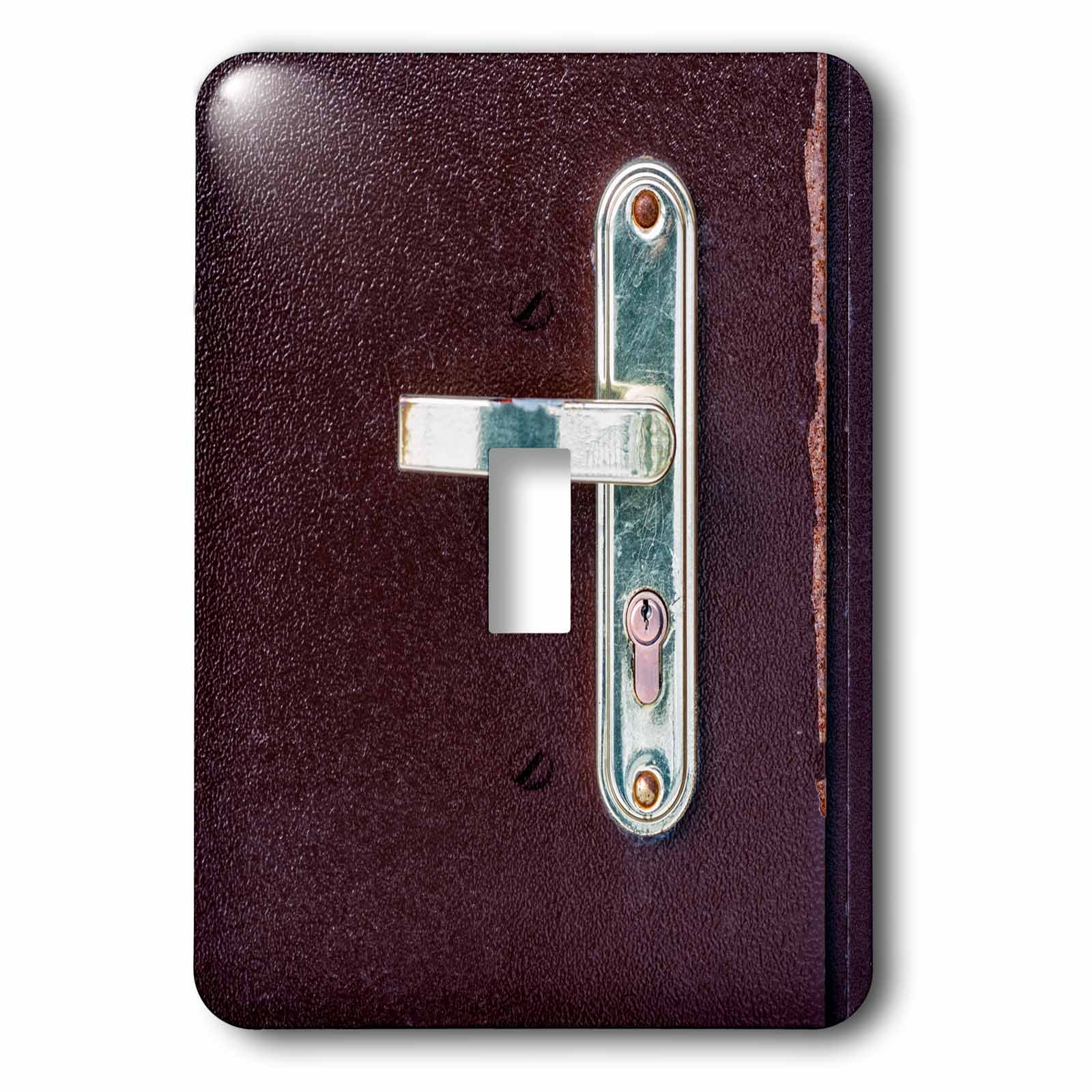 3dRose Alexis Photography - Objects - Image of a metal door, lock and a metal handle. Metal texture - Light Switch Covers - single toggle switch (lsp_283846_1)