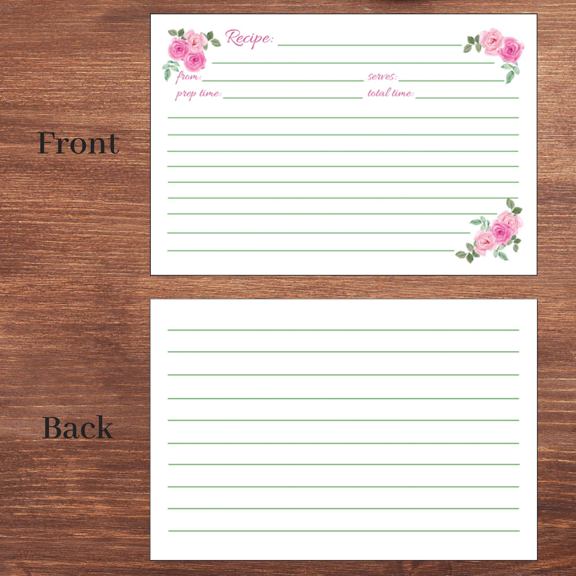 50 Floral Recipe Cards Pink Rose 4x6 Double Sided Wedding Bridal Shower Card Blank Plain Printable Recipe Card For Box Cook Book Index Cards Cute