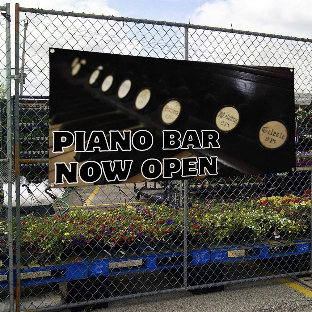 4 Grommets Vinyl Banner Sign Piano Bar Now Open Lifestyle Piano Bar Marketing Advertising Black Set of 3 24inx60in Multiple Sizes Available