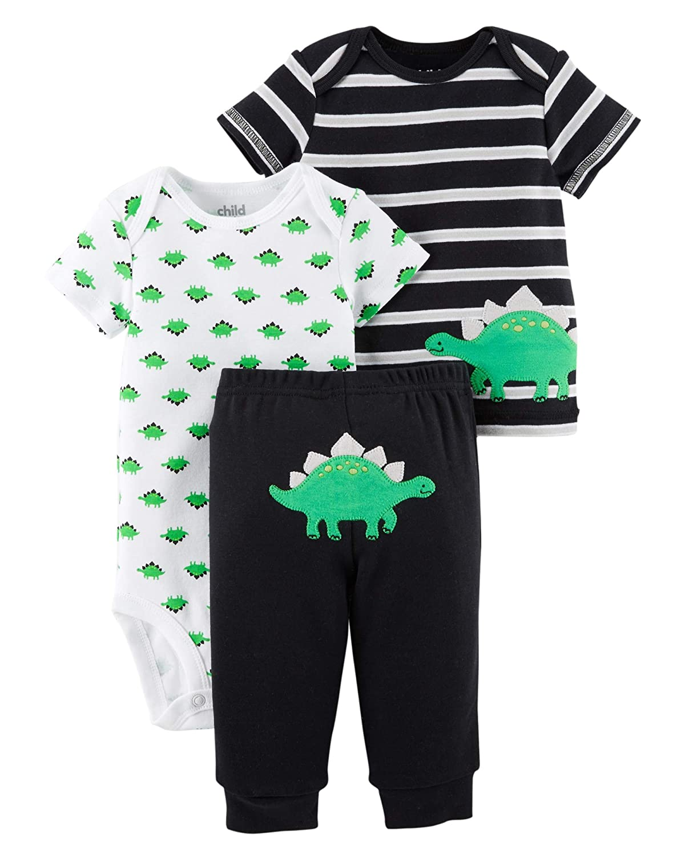 21c33969d Amazon.com: Carters Preemie Clothes For Boys Baby Pants Bodysuit Shirt 3  Pcs (Preemie Size, Black Dino): Clothing