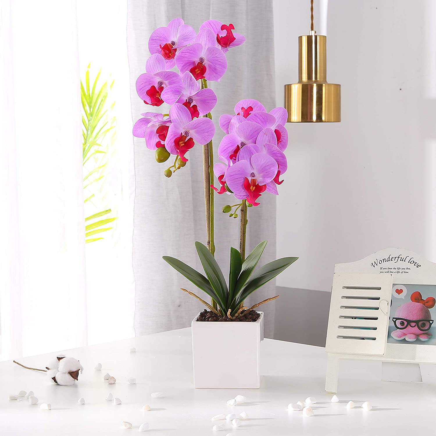 KINBEDY Aritifical Bonsai Silk Orchids Phalaenopsis with Vase Home Office Decoration Party Wedding Decor,Purple.