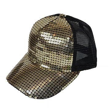 c309a0c696f New Gold Sequin mesh back trucker cap party festival  Amazon.co.uk  Garden    Outdoors