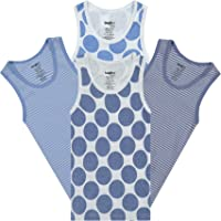 Buyless Fashion Camisetas sin Mangas para Niños 100% Algodón Blanca con Cuello Redondo (Paquete de 4)