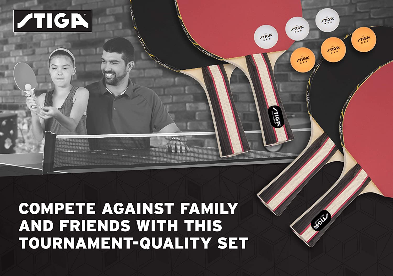 STIGA Performance Table Tennis Set (4 Player Set), Red/Black, Model:T1365 : Sports & Outdoors