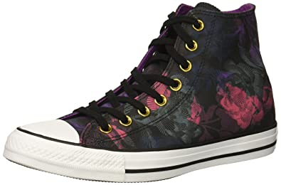 0094b1e83838 Converse Women s Chuck Taylor All Star Floral Print High Top Sneaker  Black Pink Pop