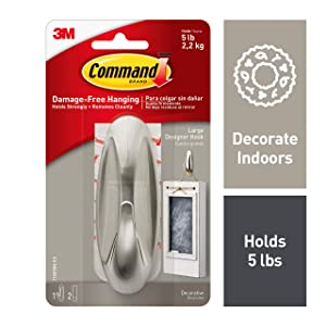 Command 5 lb Capacity Designer Hook, 1 hook, 2 strips, Indoor Use (17083BN-ES)