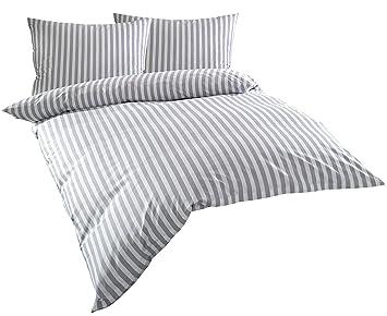 80x 80 cm Bettwäsche Garnitur Perkal 155x 220 cm Grau 100/% Baumwolle