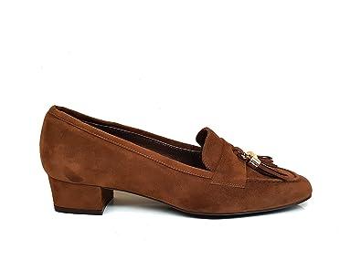 Mocasines de Piel para Mujer con Borlas y Punta Cuadrada Cerrada + Tacon Bajo 3 cm: Amazon.es: Zapatos y complementos