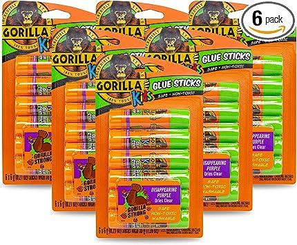 1-Pack 2 Pack Gorilla 2605201 School Glue Sticks 2 Piece Disappearing Purple