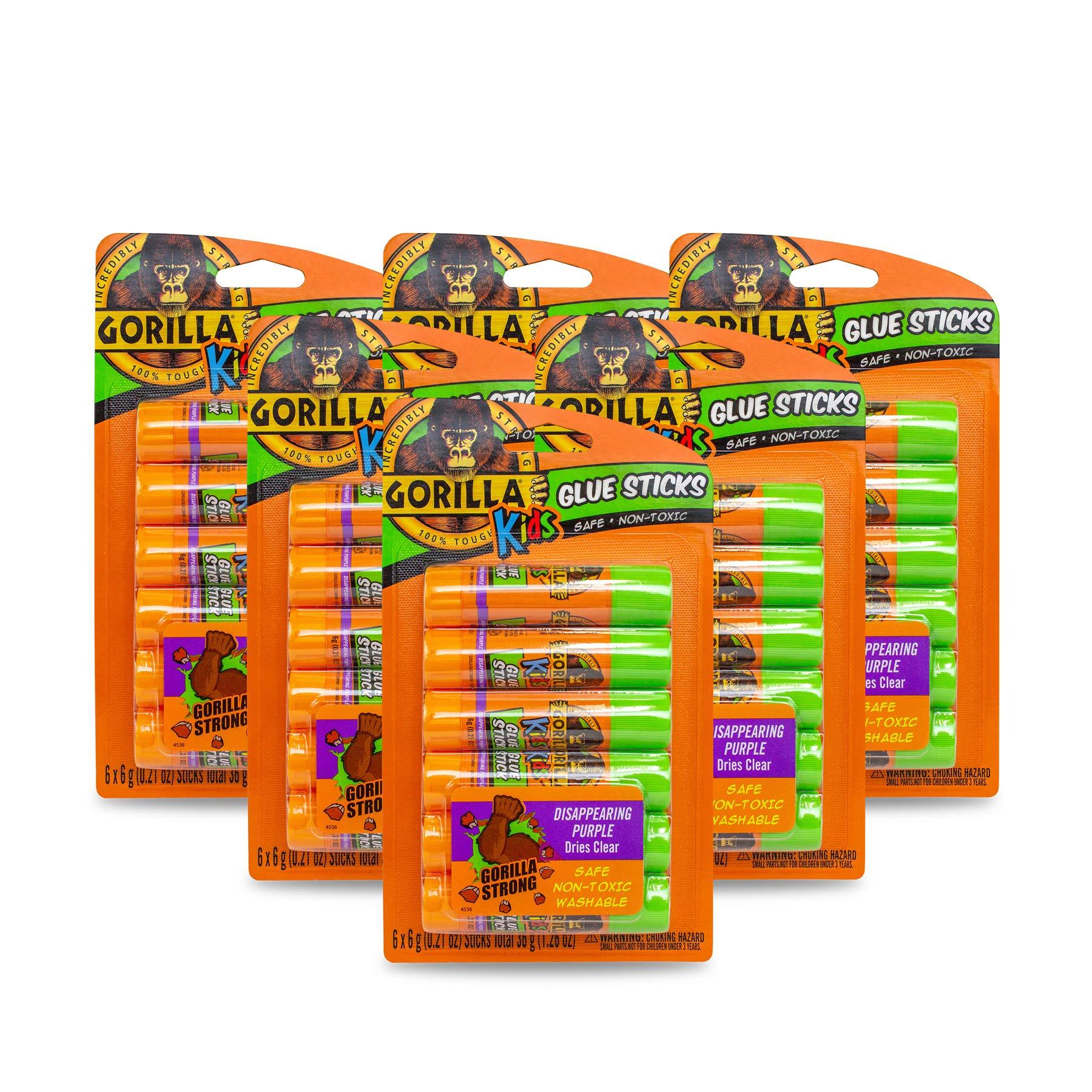 Gorilla Kids Disappearing Purple Glue Sticks, Six 6 gram Sticks, Pack of 6