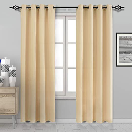 DWCN Semi Sheer Curtains Faux Silk Living Room Curtains Pale Yellow Privacy  Curtain Panels Grommet Window Curtains 52 x 84 inches Long, Set of 2,