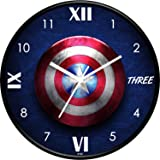 IIK COLLECTION Designer Analouge Round Wall Clock with Glass for Home/Kitchen/Living Room/Bed Room/Office, Size (28 cm x 28 cm x 6 cm) (IIK-813C-WC)
