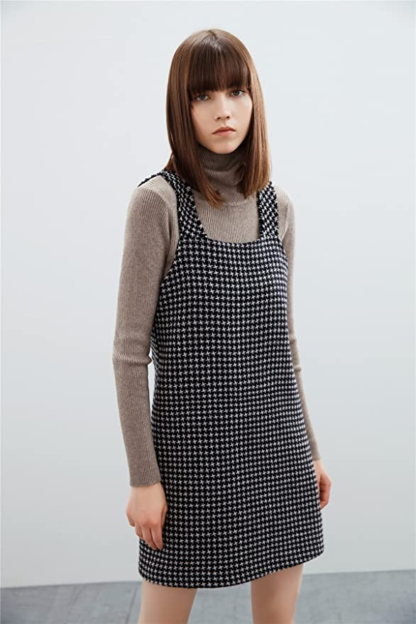 af39324b42 Houndstooth Women Overalls Skirt Dress Pocket Camisole Vest Dress Skirt  SIZE  L at Amazon Women s Clothing store