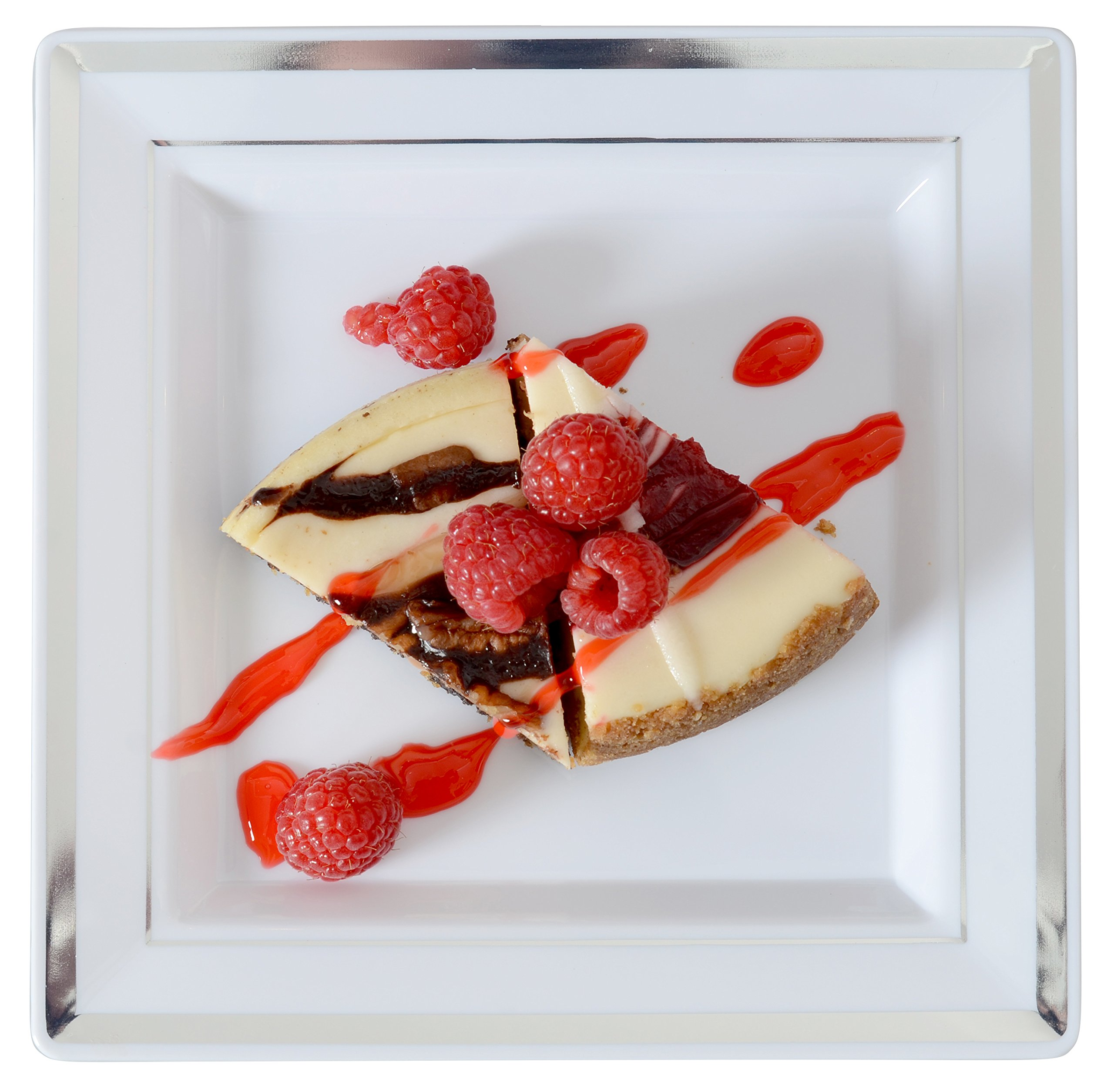 Square Splendor 5507-WH Trim Square Dessert Plate, 7.25-Inch, White and Silver, Pack of 120 by Square Splendor (Image #2)