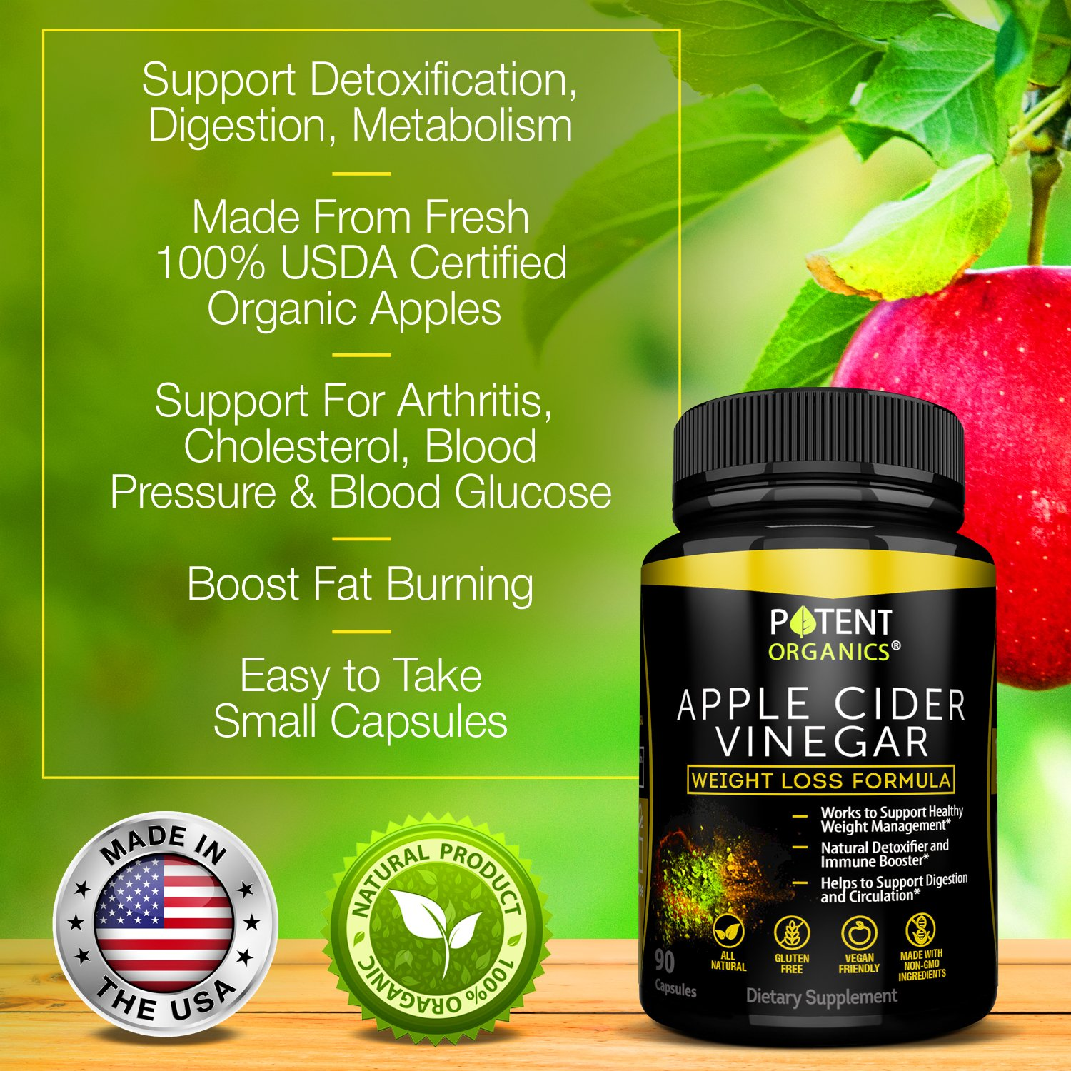 100% Organic Apple Cider Vinegar - 90 Capsules For Healthy Diet & Weight Loss- Pure, Raw, Vegan and Non-GMO - Helps Digestion - Made in USA - Add to Garcinia Cambogia​ and Your Diet Kits & Systems