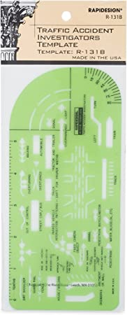 R131B 1 Each Rapidesign Traffic Accident Investigator Pocket-Size Template