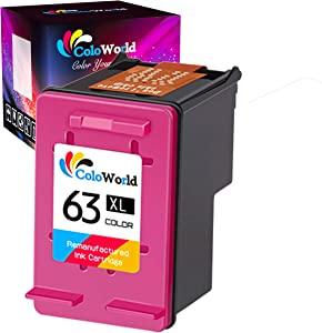ColoWorld Remanufactured 63XL Color Ink Cartridge 1 Pack Replacement for HP 63XL 63 XL Work with Officejet 5255 3830 3834 Envy 4520 4513 4511 Deskjet 1112 3630 3634 2132 3639 3636 Printer (1 Color)