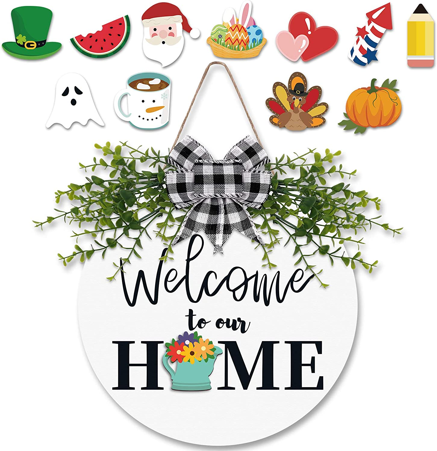 Zingoetrie Interchangeable Welcome to Our Home Sign Wooden Rustic Front Door Decor Seasonal Welcome Door Hanger Farmhouse Porch Home Wreath Sign 12 Inches White