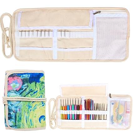Damero Bolsa para Kit de Ganchillos Estuche para Agujas Bolso para Hacer Puntos Organizador para Crochet, No incluido accesorios, Pintura