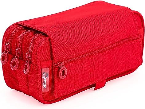 Portatodo Triple de Amplios Apartados Interiores con Cierre de Cremallera Individual (Rojo): Amazon.es: Oficina y papelería