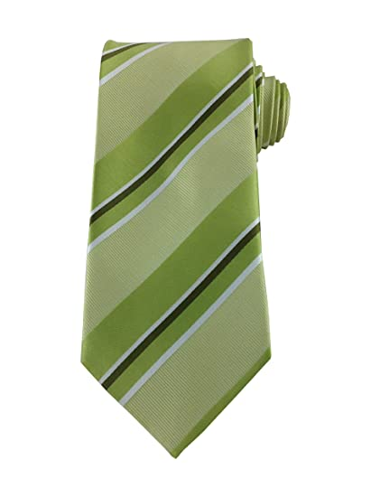 2ff29d669bcc Image Unavailable. Image not available for. Color: Mens Necktie Multi Green  Olive and White Classic Stripe Tie