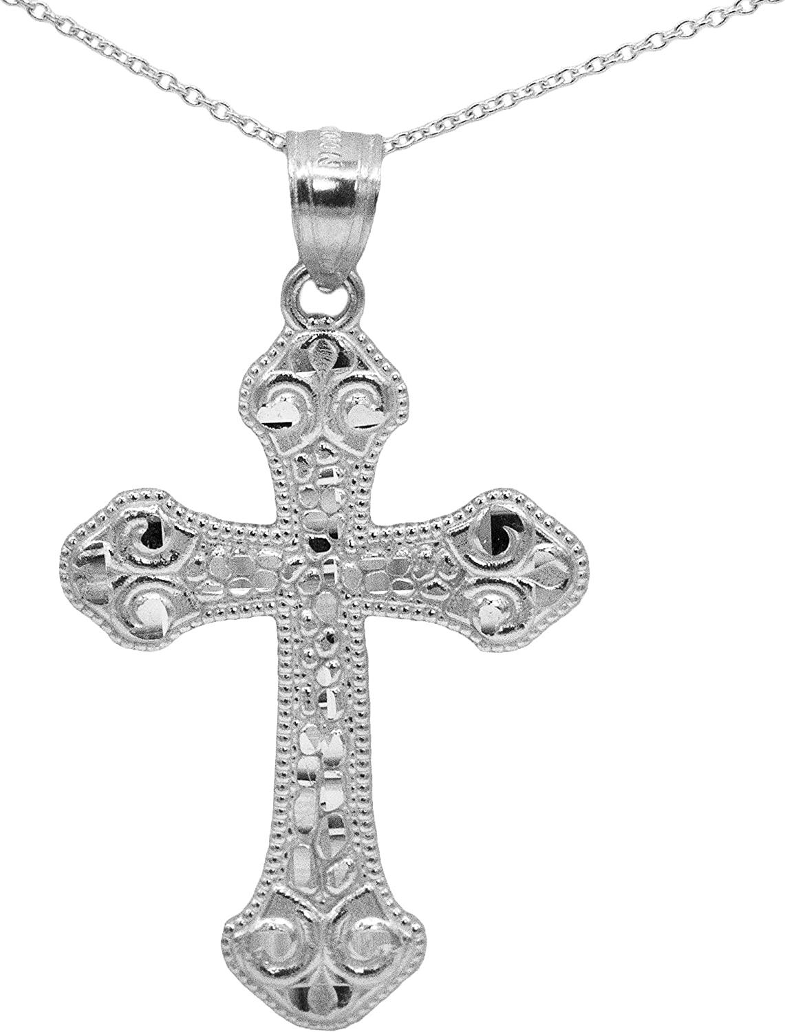 Ice on Fire Jewelry 14k White Gold Cross Pendant Necklace