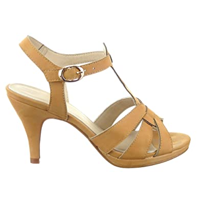 Sopily  Womens Fashion Shoes Pump Court shoes  anklehigh  TBar  Buckle Heel Cone Heel 9 CM  Camel  B00KCSAEF6