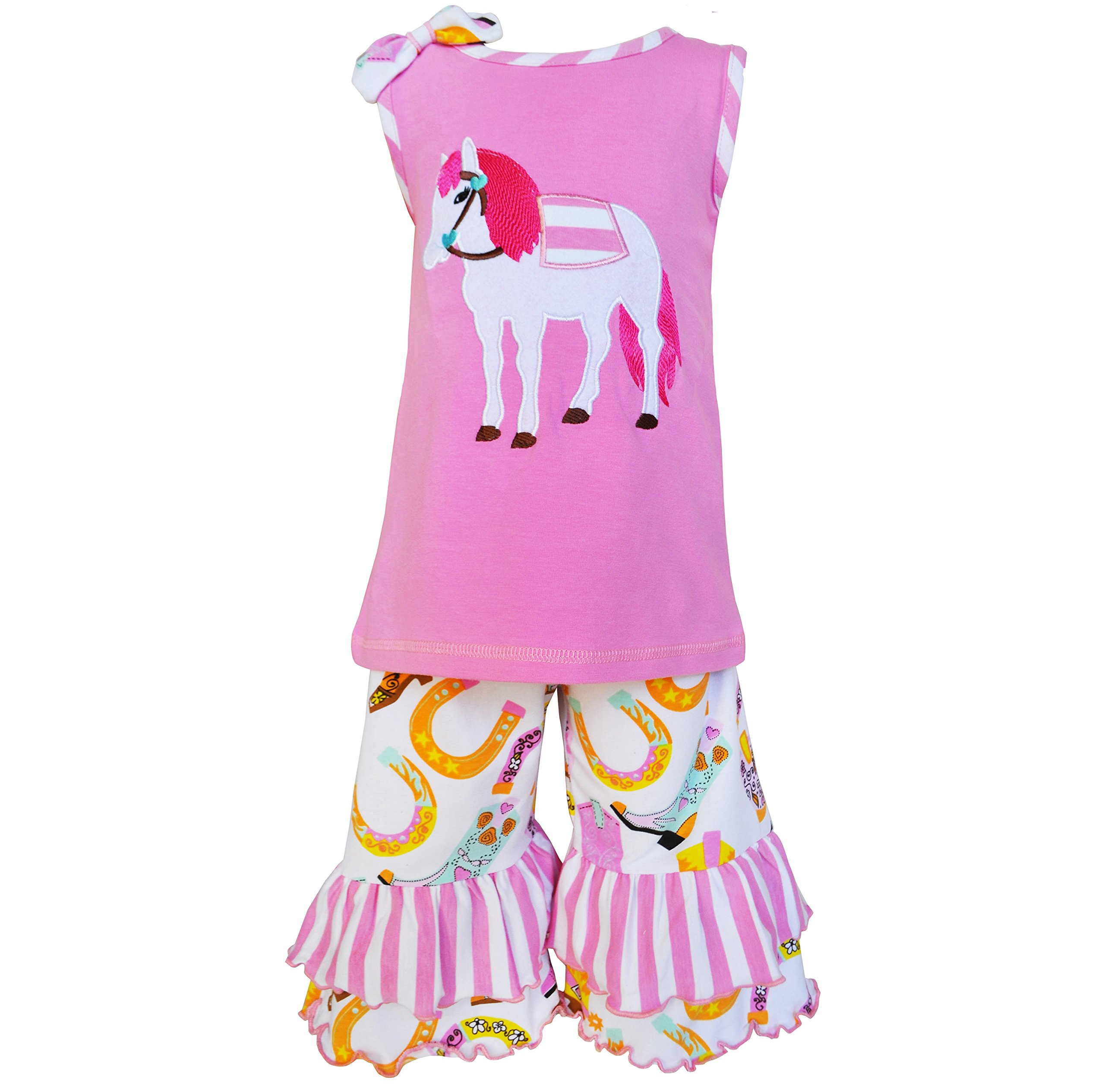 AnnLoren Little Girls 4/5T Boutique Pony Tunic and Capri Outfit