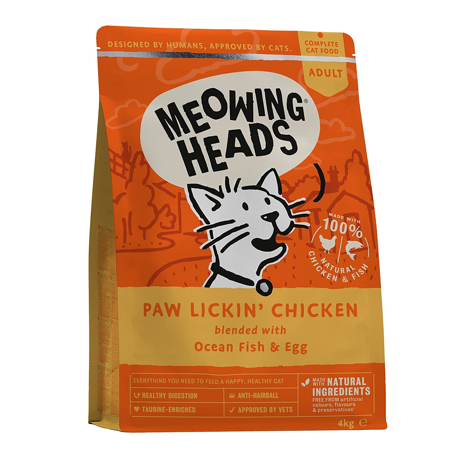 Meowing Heads Dry Cat Food - Paw Lickin' Chicken - 100% Natural Chicken and  Fish with No Artificial Flavours, Good for Healthy Digestion, 4 kg