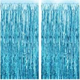 FECEDY 2pcs 3ft x 8.3ft Light Blue Metallic Tinsel Foil Fringe Curtains Photo Booth Props for Birthday Wedding…