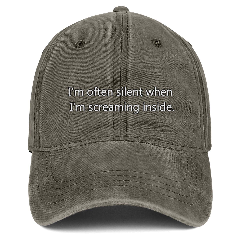 Unisex Im Often Silent When Im Scraem Inside Fitscowboy Hat Outdoor Baseball Cap Snapback Hat